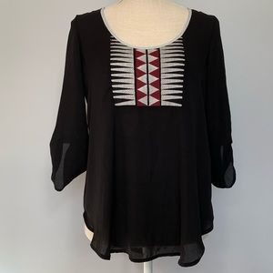 Lush Nordstrom Black Aztec Tribal Long Sleeve Top